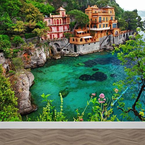 fotobehang italiaans dorpje aan zee