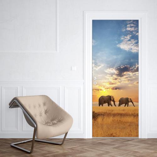Adesivo per porte Elefanti che camminano 2