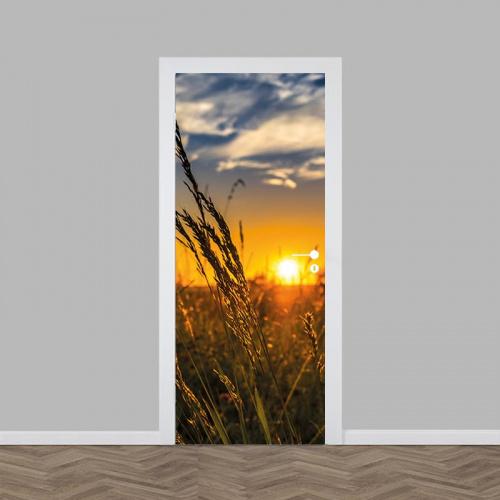 Adesivo per porte Campo di grano al tramonto