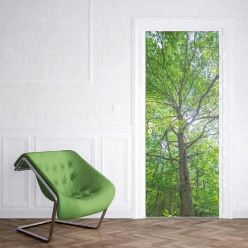 Adesivo per porte Albero a foglie verdi 2