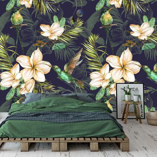 Fotobehang Botanische jungle patroon 2