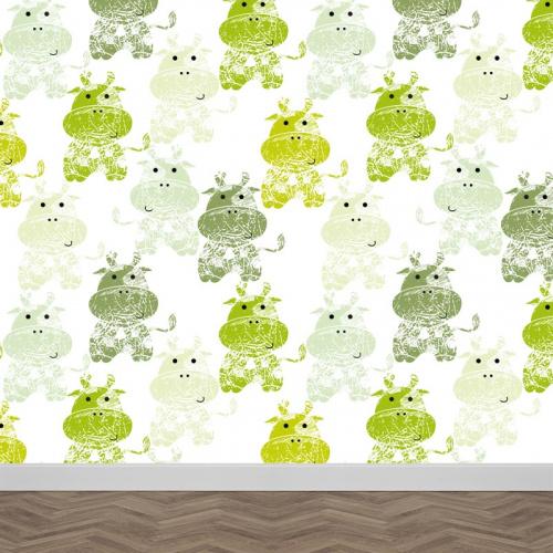fotobehang Groene koeien patroon