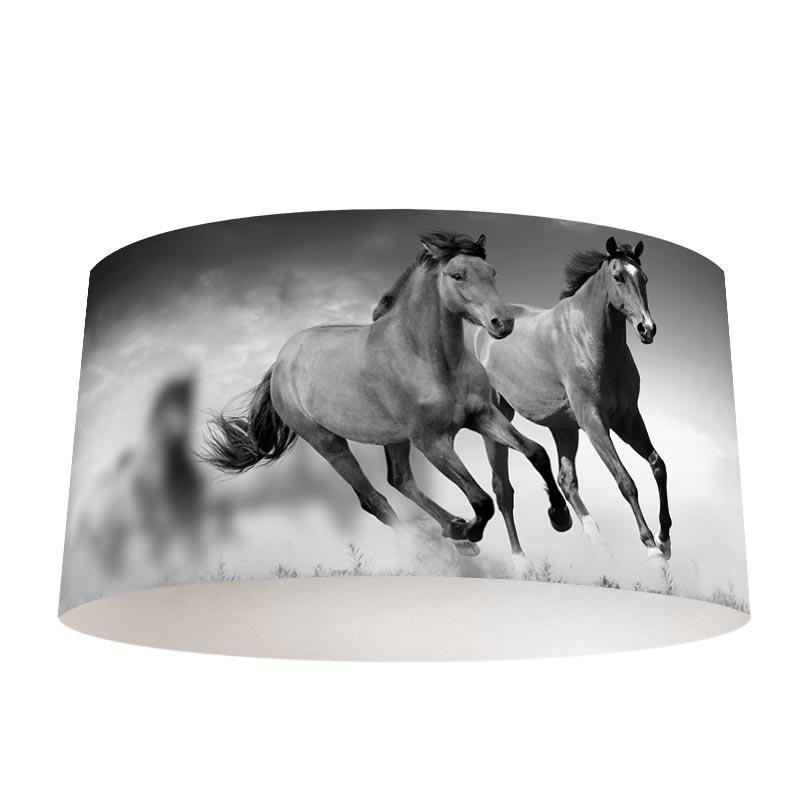 Lampenkap paarden zwartwit