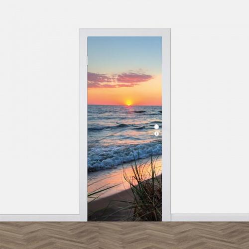 Adesivo per porta tramonto sul mare