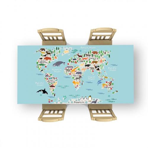 Adesivo da tavolo Mappa del mondo animali