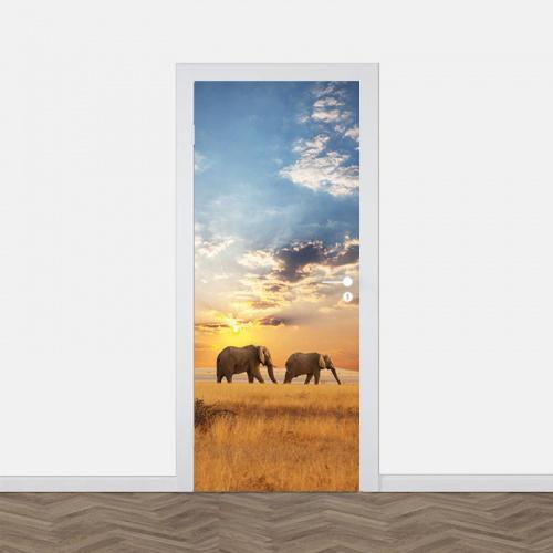 Adesivo per porte Elefanti che camminano