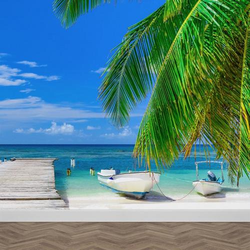 Fotobehang steiger op het strand