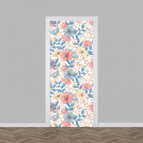 deursticker Heldere bloemen patroon
