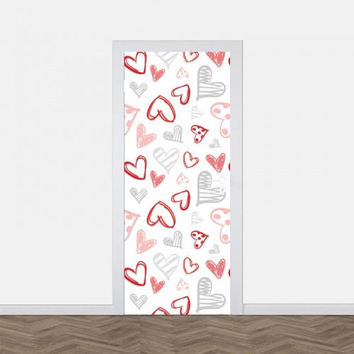 deursticker Hartjes patroon 3