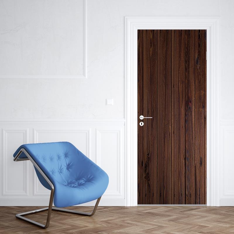 Adesivo per porta Modello in legno scuro 2