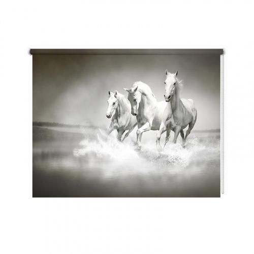Tenda a rullo Cavalli bianchi nell'acqua