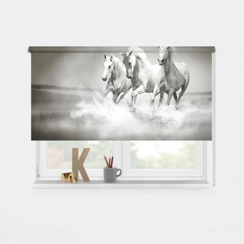 Tenda a rullo Cavalli bianchi nell'acqua 2