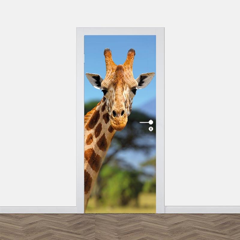 Adesivo per porte Giraffe a Kilimanjaro