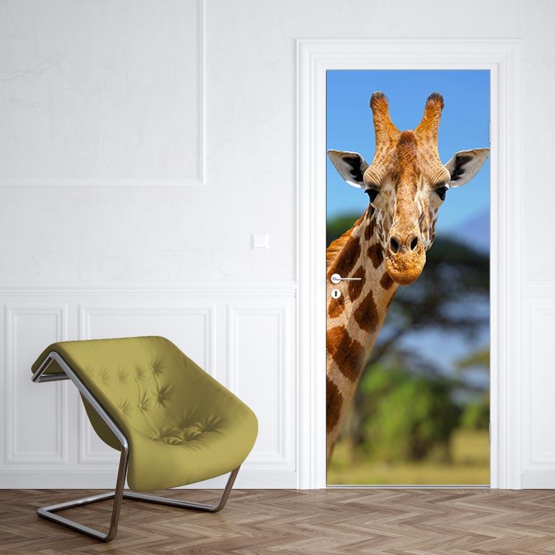 Adesivo per porte Giraffe a Kilimanjaro 2