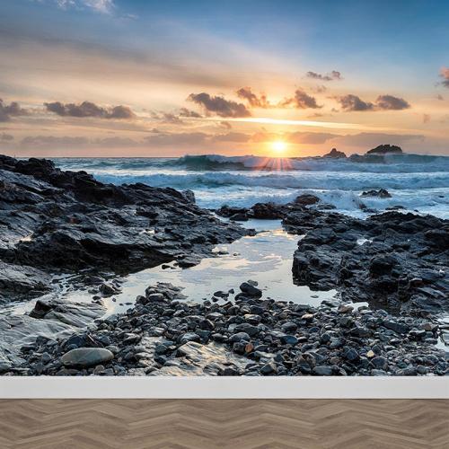 Fotobehang storm aan de kust