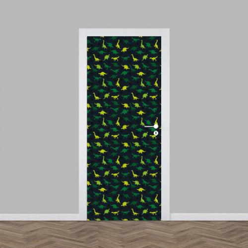 Adesivo per porta Dinosauri in verde