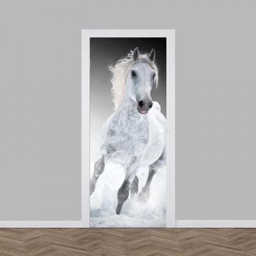 Adesivo per porta Cavallo bianco al galoppo