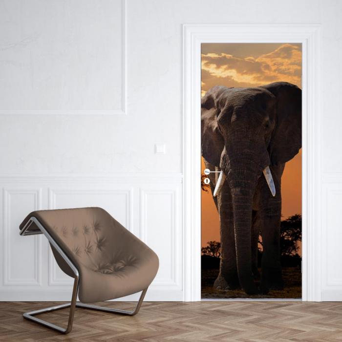 Adesivo per porta Elefante al tramonto
