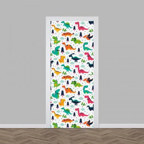 Adesivo per porta Dinosauri colorati