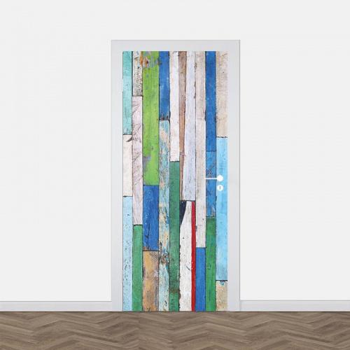 Deursticker Gekleurd hout patroon 3