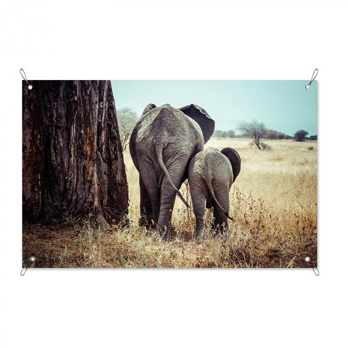 Poster da giardino Elefante con cucciolo