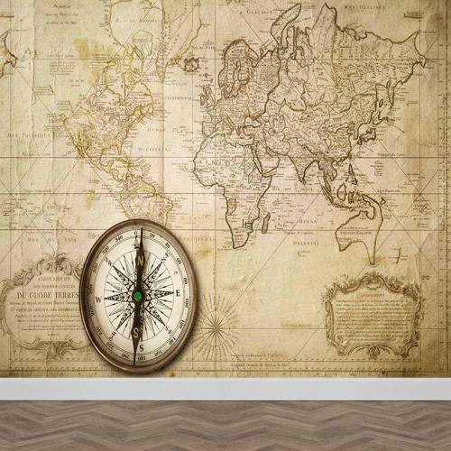 Fotobehang Oude wereldkaart