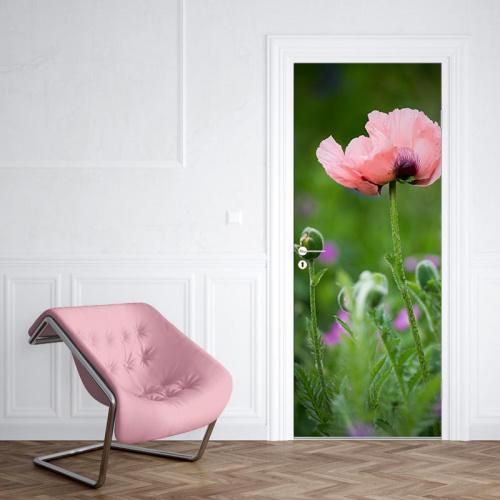 Deursticker wilde roze bloem