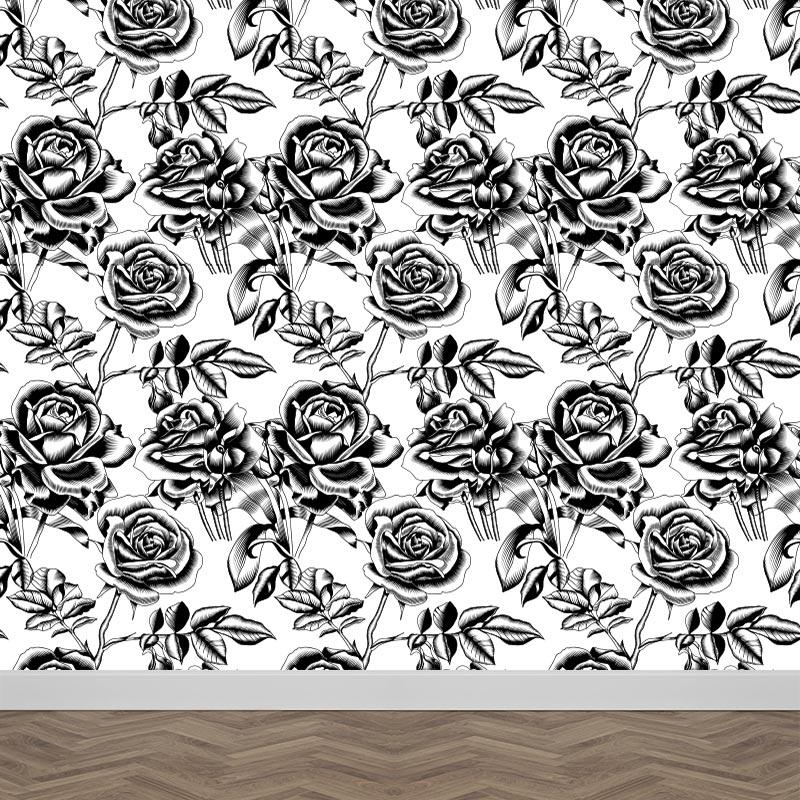 Fotobehang Getekende rozen patroon