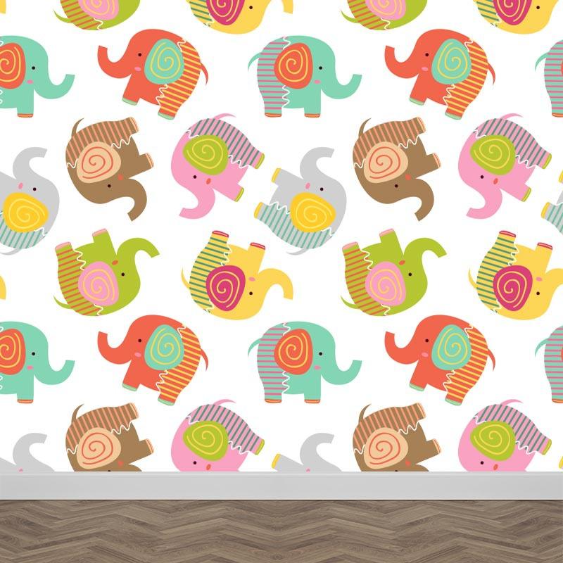 Fotobehang Gekleurde olifantjes patroon