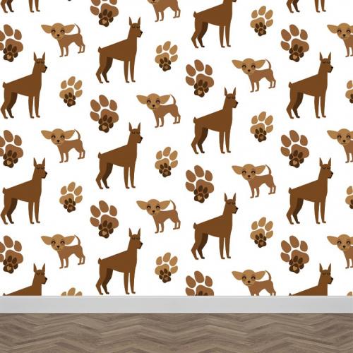 Fotobehang Hondjes patroon 2