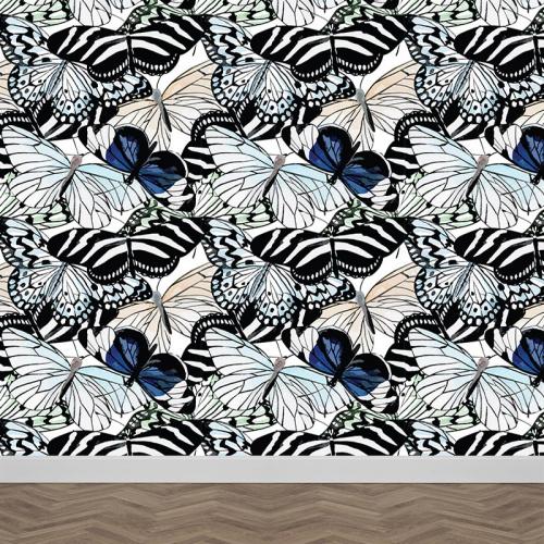 Fotobehang Vlinders in aquarel