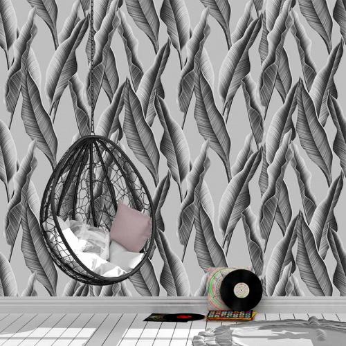 Fotobehang Palmbladeren in zwartwit