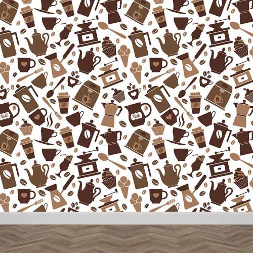 Fotobehang Getekend koffie patroon 2