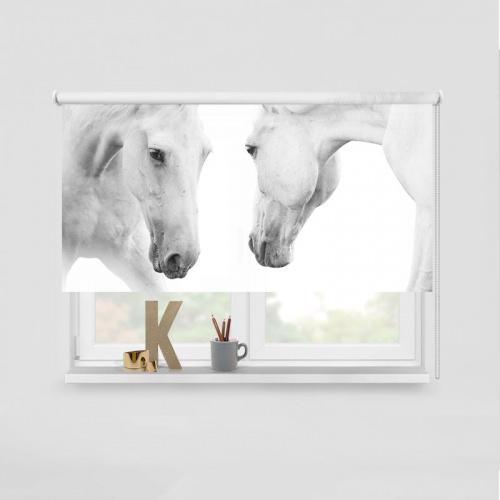 Rolgordijn 2 witte paarden
