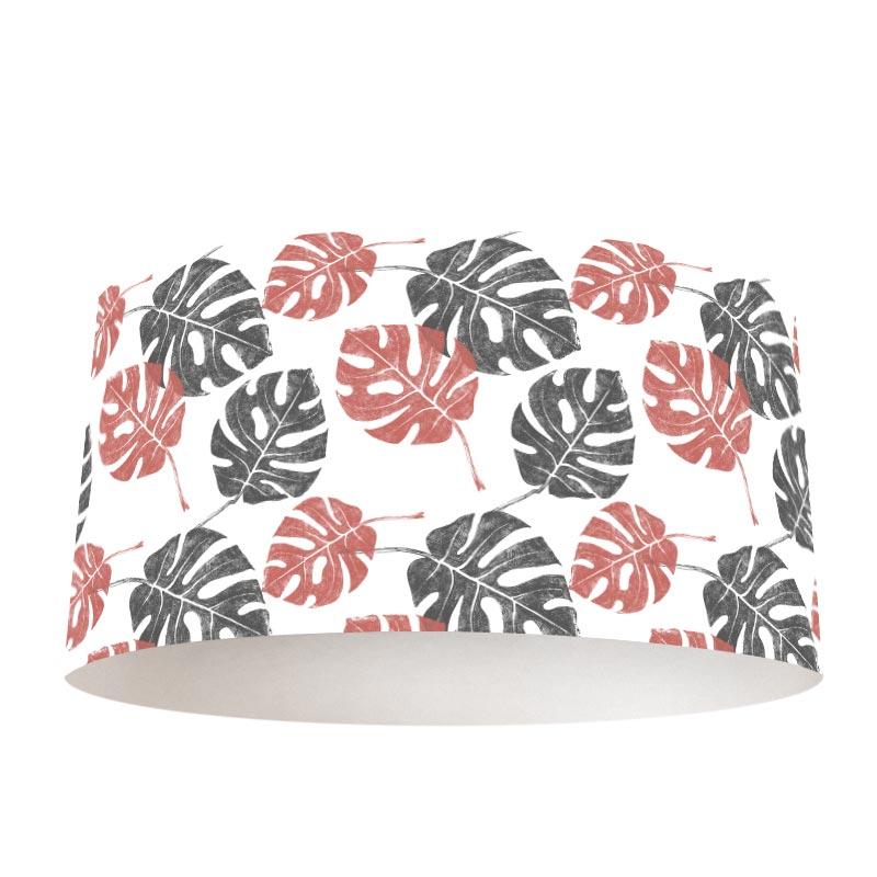 Paralume Motivo foglie tropicali 1 rosa grigio