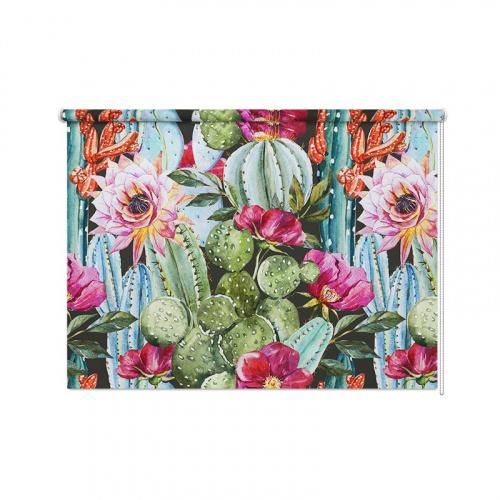 Tenda a rullo Cactus e fiori botanici