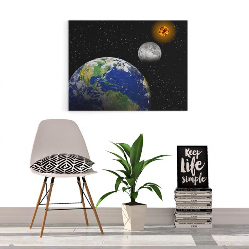 Canvas Zon maan aarde