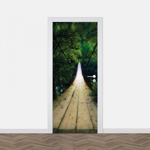 Adesivo per porta Ponte nella foresta2