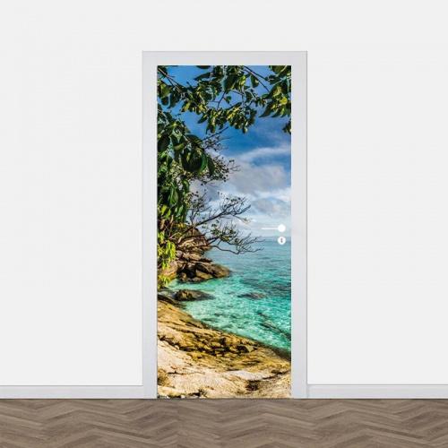 Adesivo per porta Mare tropicale