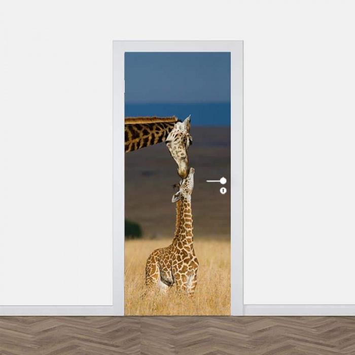Adesivo per porta Giraffa con cucciolo