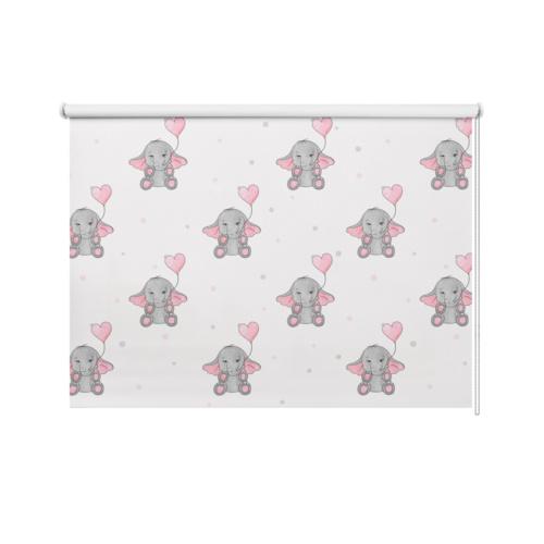 Tenda a rullo Elefantini e cuoricini